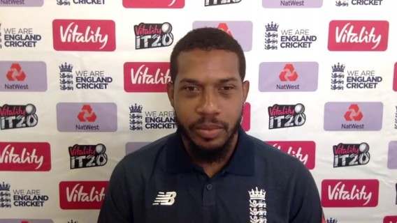 England's Chris Jordan post win v Australia